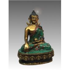 Buddha Śākyamuni, statua in rame e pietre