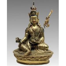 Padmasambhava, statua in lega e volto dipinto in oro